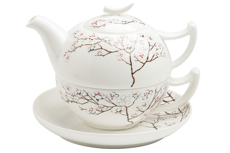 tea for one white cherry tealogic fine bone china teekanne. Black Bedroom Furniture Sets. Home Design Ideas